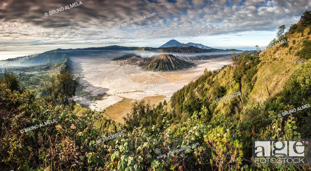 Stock Photo: View of Mt. Bromo, Semeru, Batok and Widodaren in Bromo Tengger Semeru National Park (East Java, Indonesia).