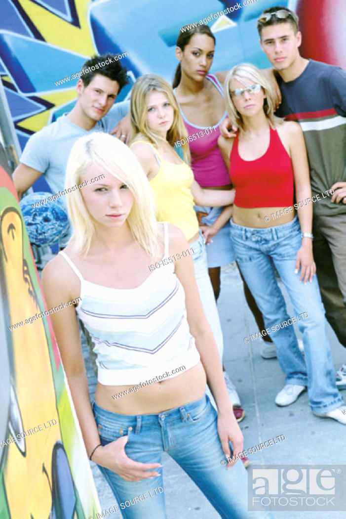 Stock Photo: Group of young friends.