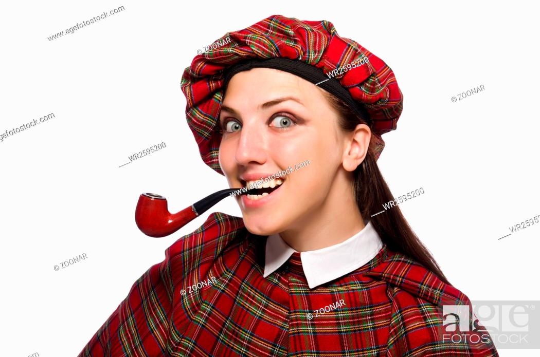 Photo de stock: Scottish woman isolated on the white background.