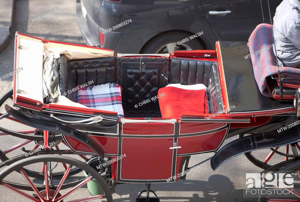 Stock Photo: Horse drawn coach carriage red Vienna empty.