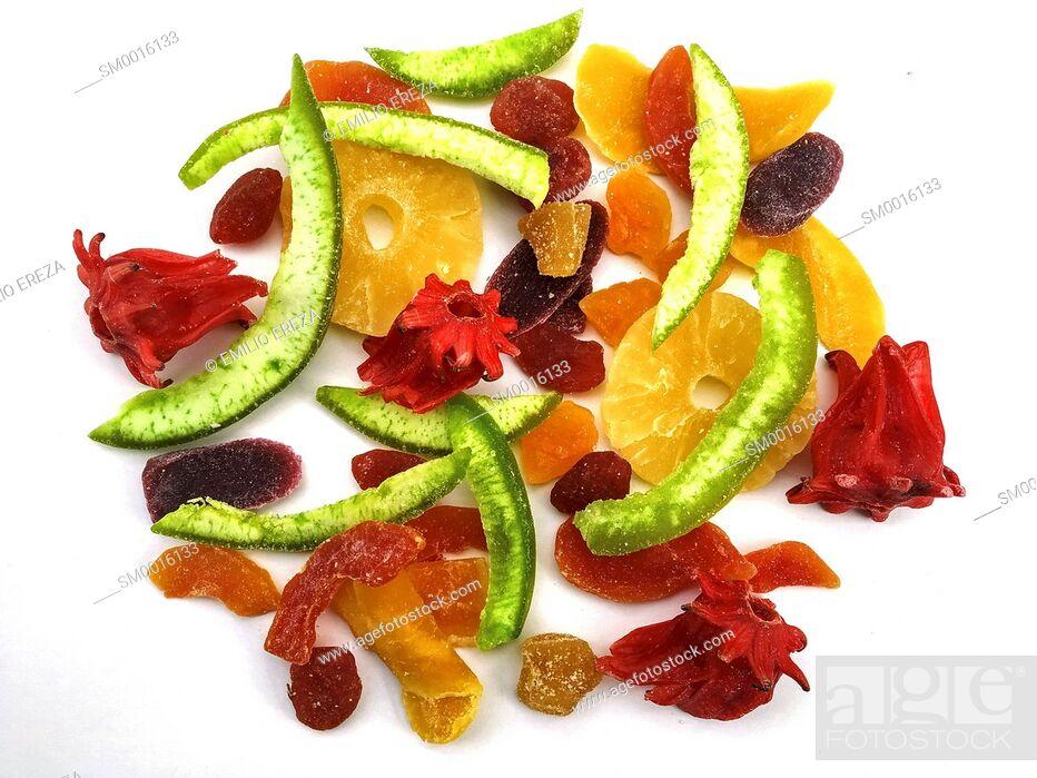 Stock Photo: Varied caramelized fruits.