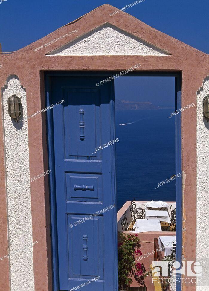 Stock Photo: Thira. Santorini Island. Cyclades Islands. Greece.