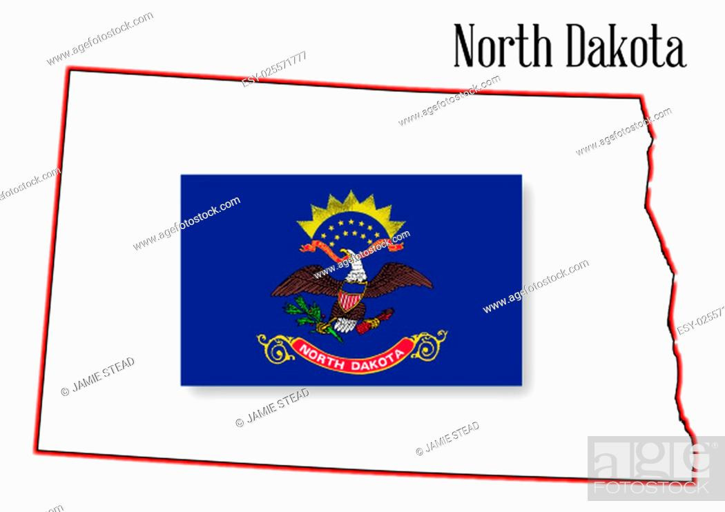 Imagen: Outline of the state of North Dakota isolated with inset flag.