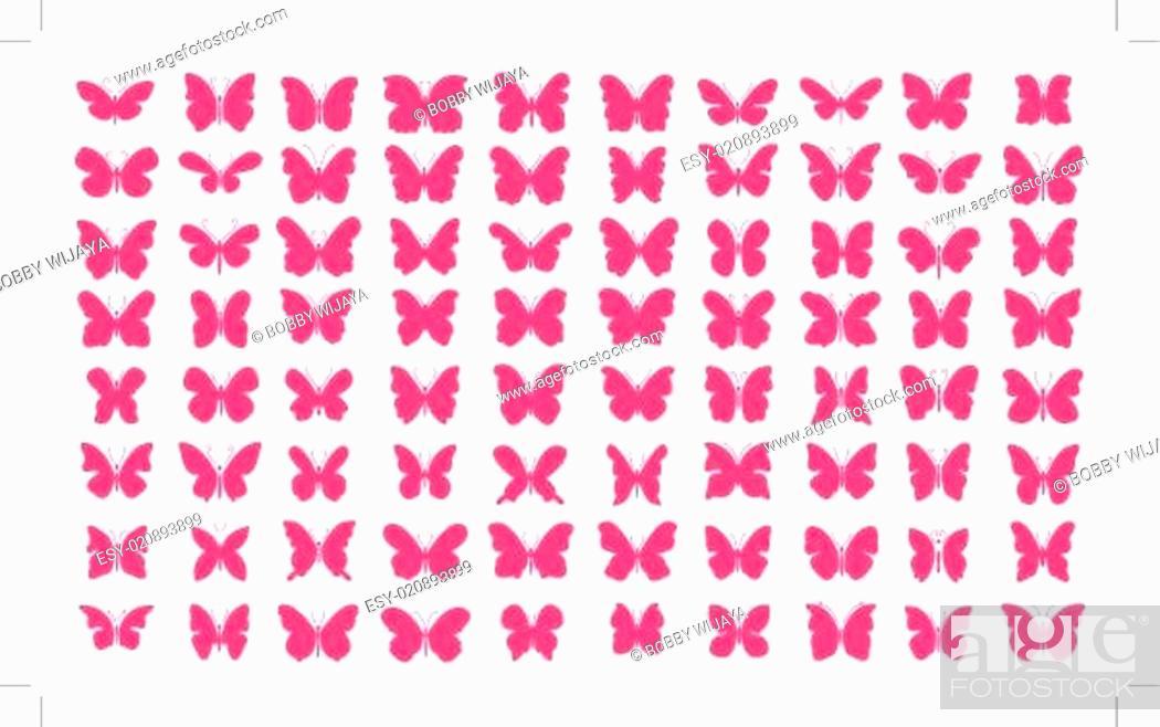 Stock Vector: Butterfly Set Vector.