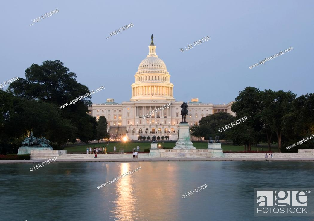 Stock Photo: Washington DC, USA, the Capitol Building, legislative branch of the US government, as seen at night from the National Mall.