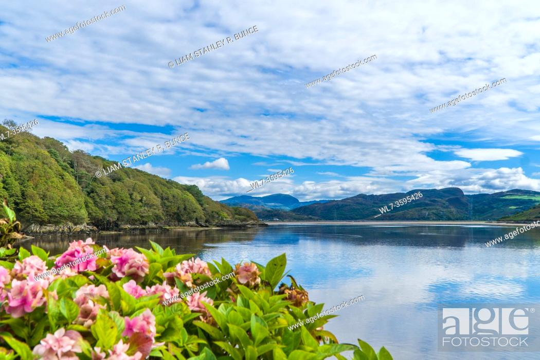 Stock Photo: North westerly view along the River Dwyryd from Portmeirion towards Snowdonia National Park north Wales UK. August 2020.