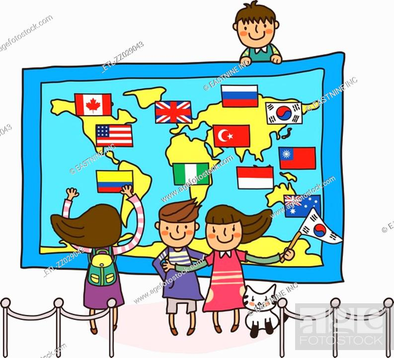 Stock Photo: Three children standing in front of a world map.