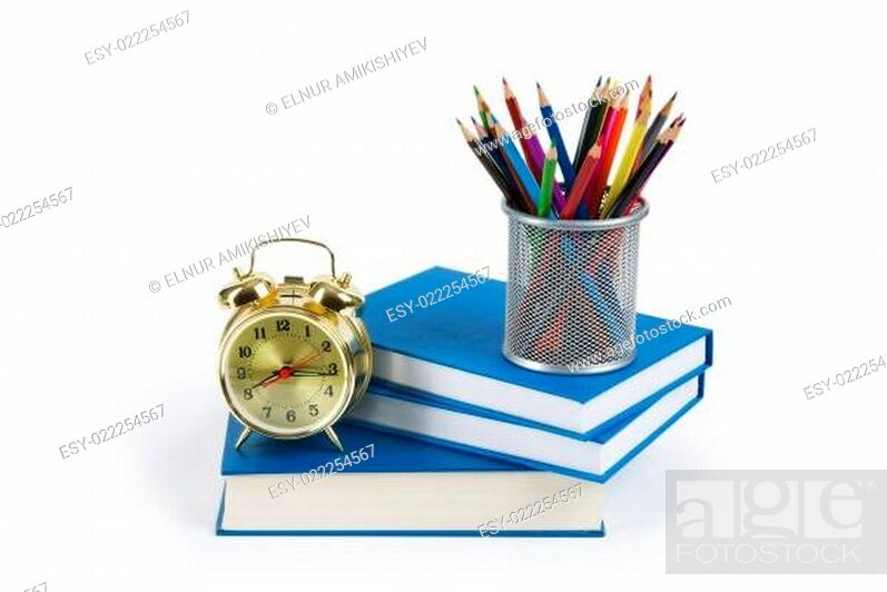 Stock Photo: Back to school concept with books and pencils.