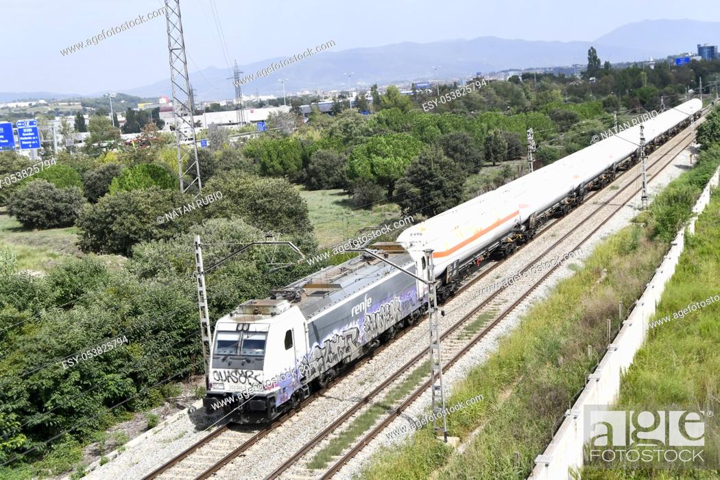 Stock Photo: Freight train, Montornes del Valles, Barcelona, Spain.