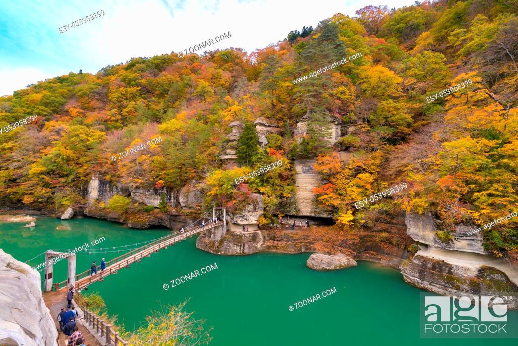Stock Photo: To no Hetsuri Cliff river and canyon Fukushima Japan.