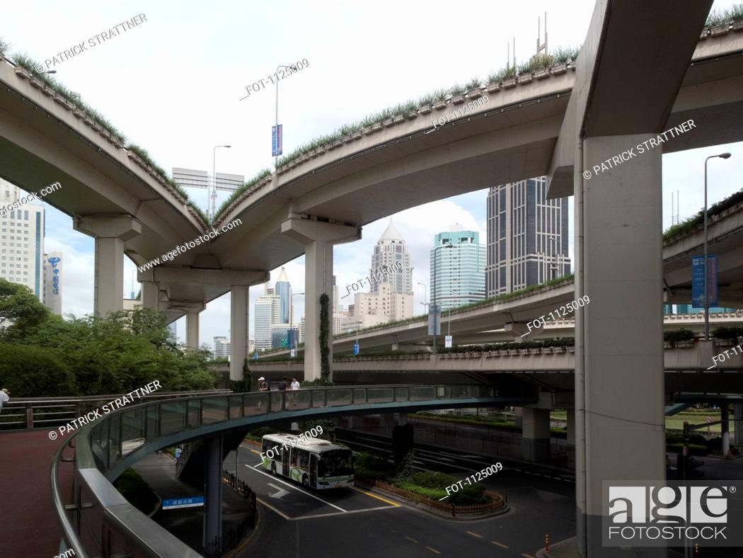 Stock Photo: City streets and overpasses in Shanghai, China.
