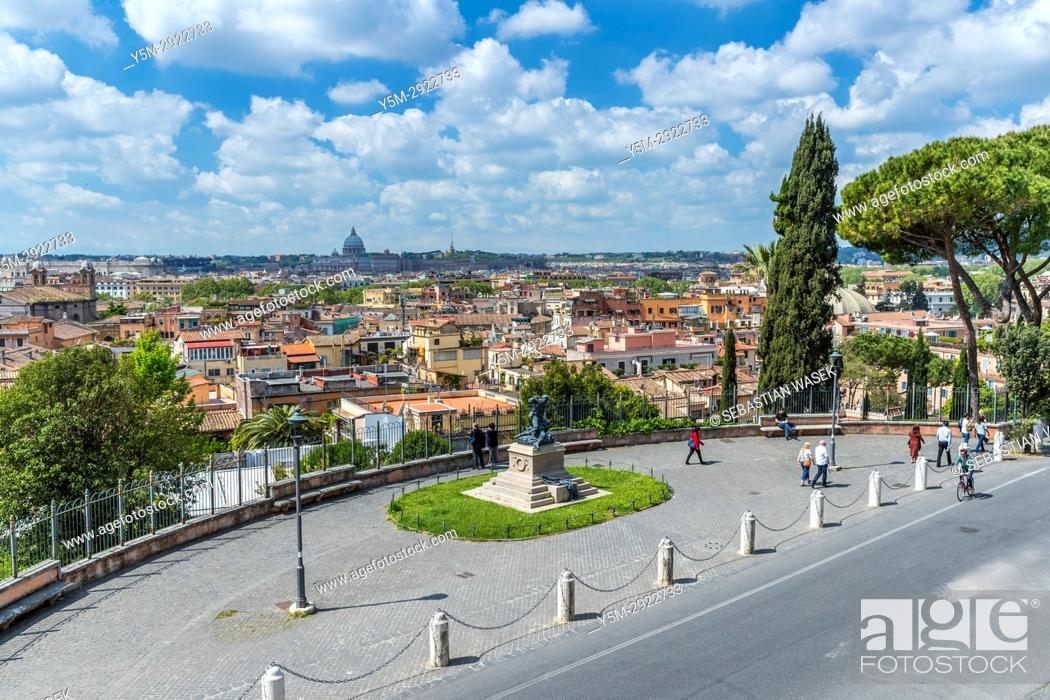 Rome seen from Terrazza del Pincio, Lazio, Italy, Europe, Stock ...