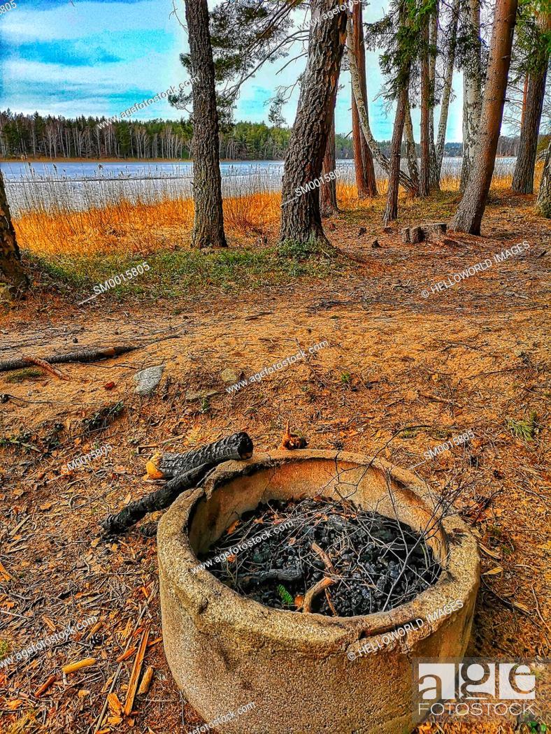 Stock Photo: Fire pit, Bjorno Nature Reserve, Stockholm archipelago, Sweden, Scandinavia.