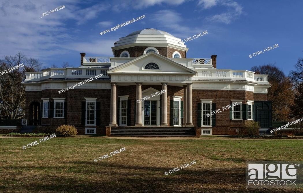 Stock Photo: Thomas Jeffersons Charlottesville, Virginia Home.
