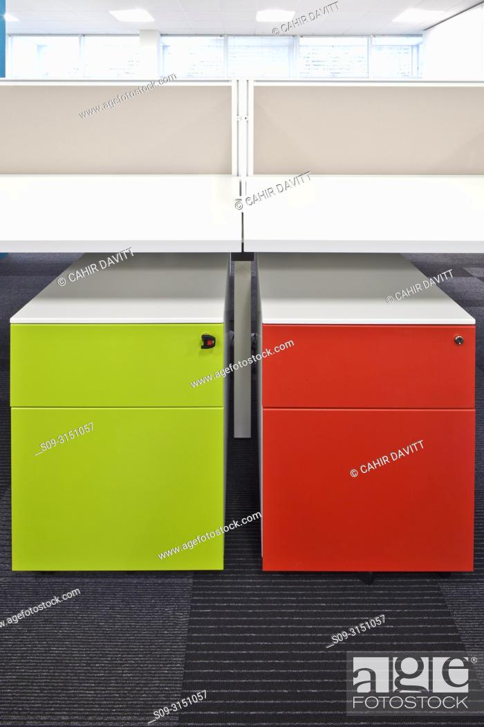 Stock Photo: Contemporary styled modern desk and drawer unit.