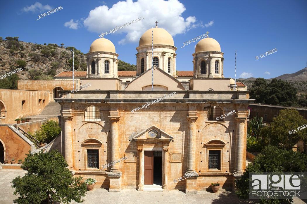 Stock Photo: Agias Triada Monastery or Monastery of Agia Triada Tsangarolon, Akrotiti peninsula, Crete island, Greece, Europe.