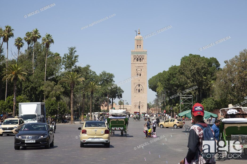 Stock Photo: Koutoubia Mosque Minaret Viewed from Jemaa el-Fna Square in Marrakech, Morocco.