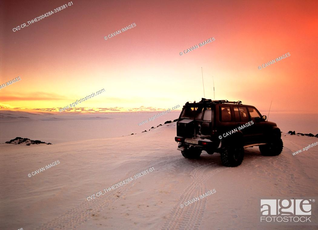 Stock Photo: customised SUV in the highlands of Iceland.