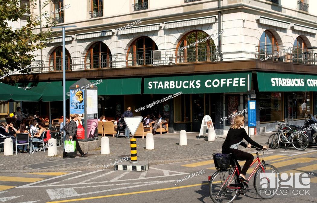 Stock Photo: Starbucks Coffee shop at Quai des Bergues, Geneva, Switzerland.