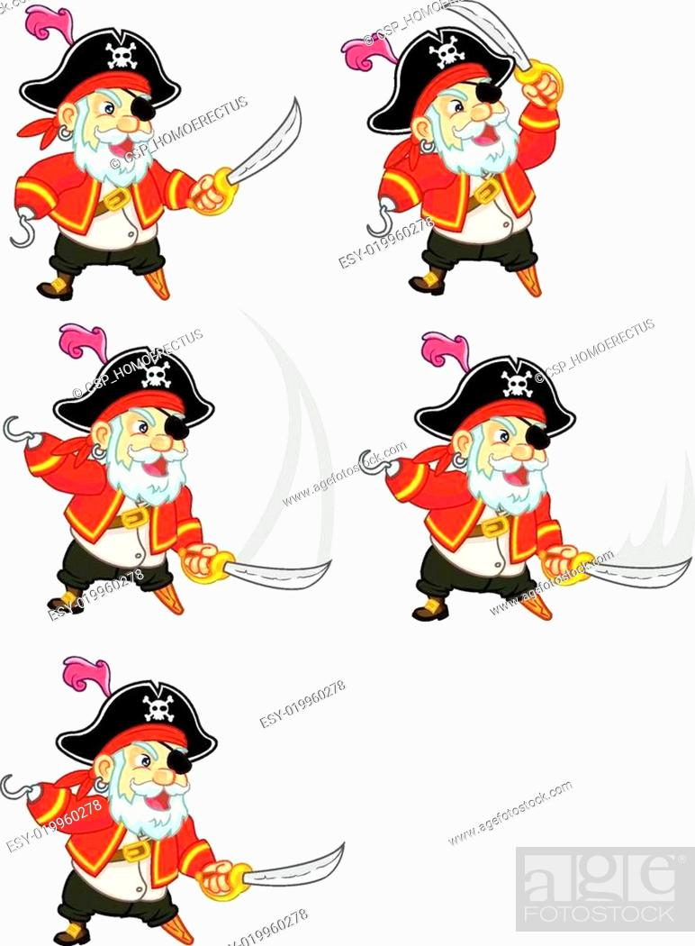 Stock Vector: Old Pirate Game Sprite.