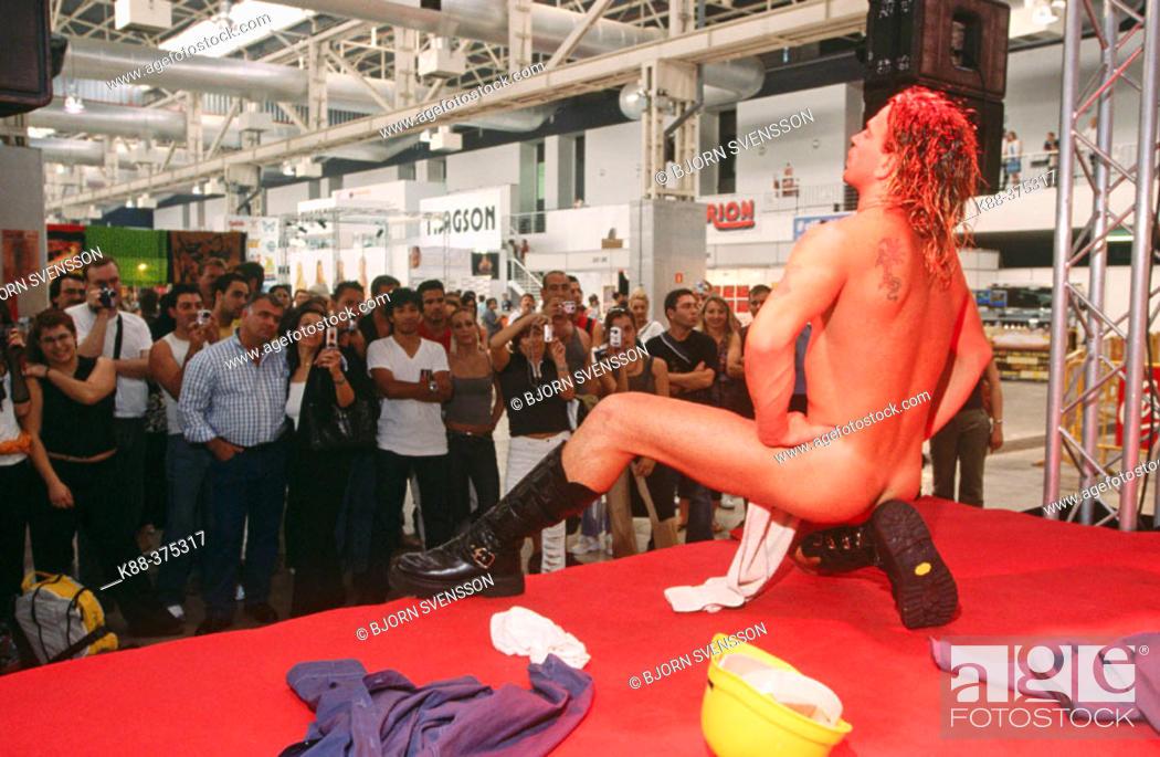 Stock Photo: Male stripper, FICEB (International Erotic Film Festival of Barcelona). Barcelona. Spain.