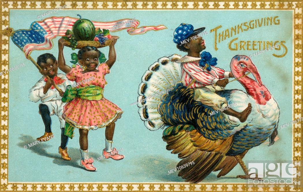 Thanksgiving Greetings, Postcard. African American children ...