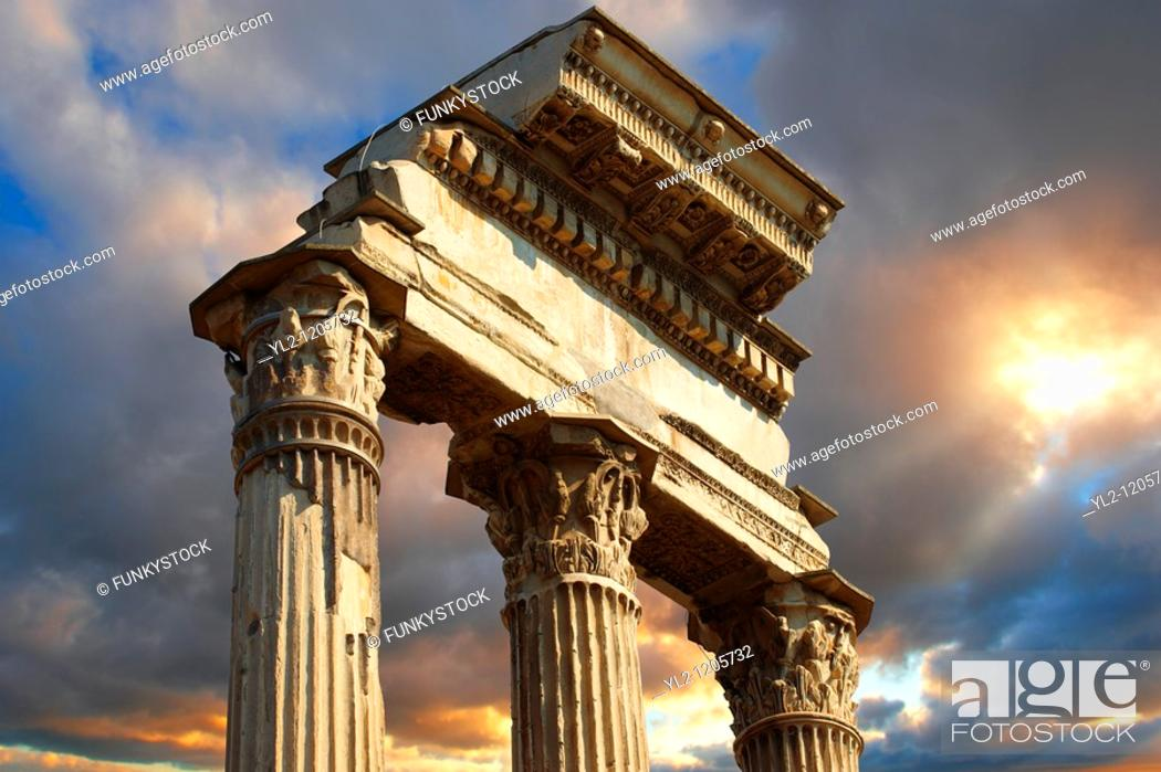 Stock Photo: The Temple of Castor and Pollux, The Forum Rome.