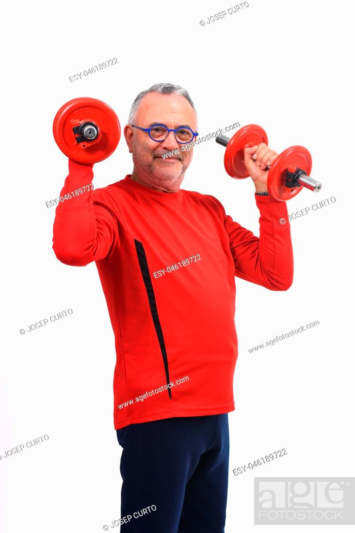 Stock Photo: man with dumbbells on white background.