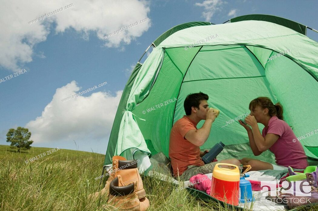 Stock Photo: Happy Couple Camping.