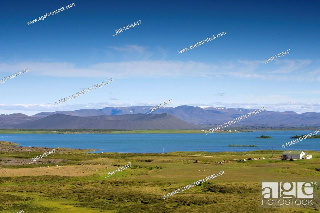 Stock Photo: Lake Myvatn with the Hverfjall tephra cone in the back, Iceland, Europe.