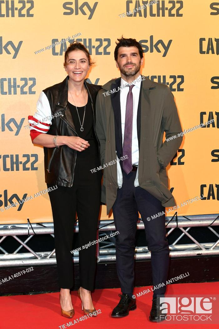 Stock Photo: Anna Foglietta with husband Paolo Sopranzetti during the Red carpet for the Premiere of film tv Catch-22, Rome, ITALY-13-05-2019.