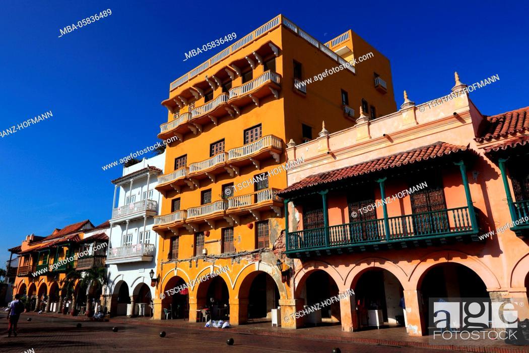 Stock Photo: Republic Colombia, Departamento Bolivar, city of Cartagena de Indias, houses in the historical old town.