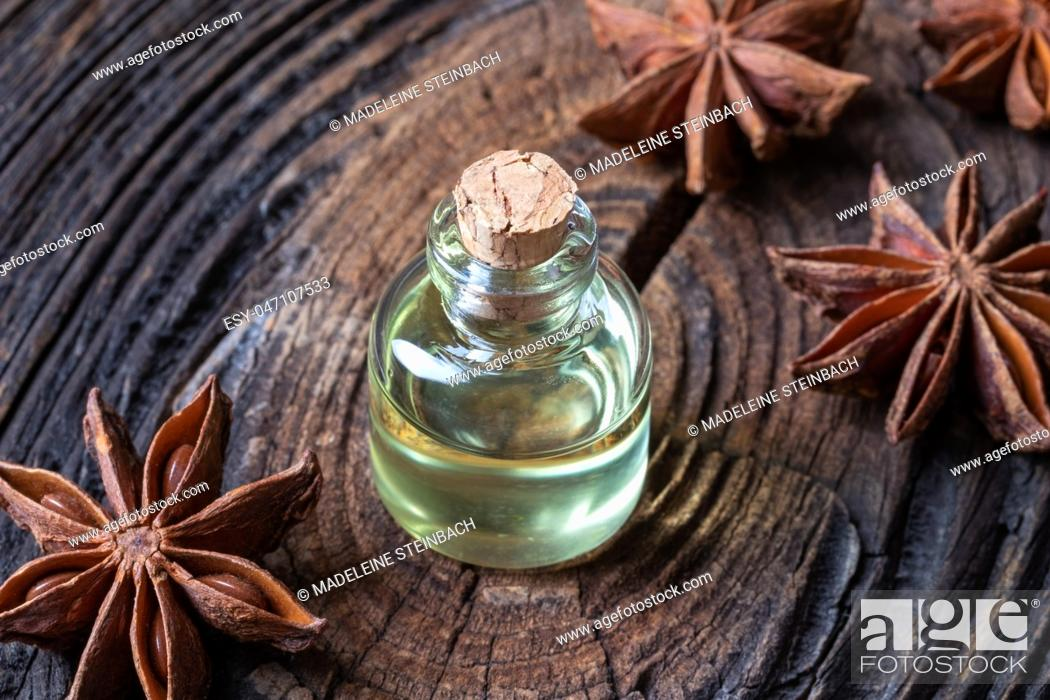 Stock Photo: A bottle of star anise essential oil.