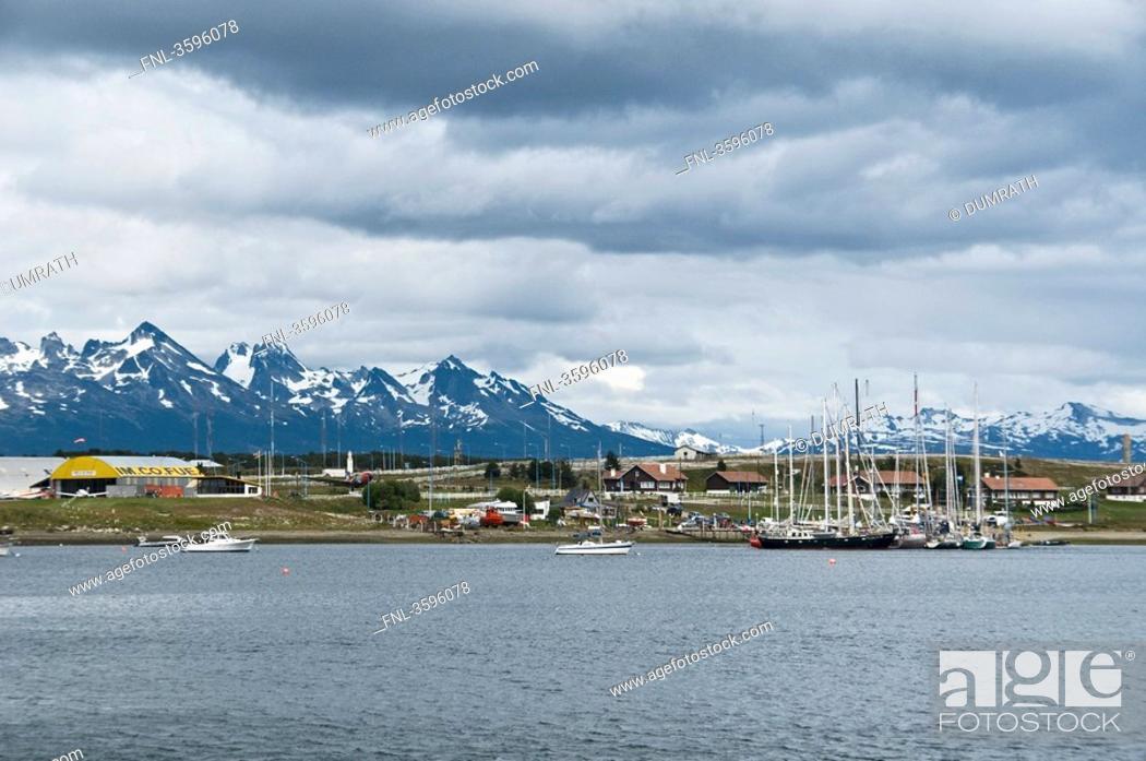 Stock Photo: View of Ushuaia with marina, Tierra del Fuego, Argentina.