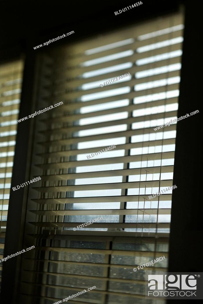 Stock Photo: Window with open blinds.