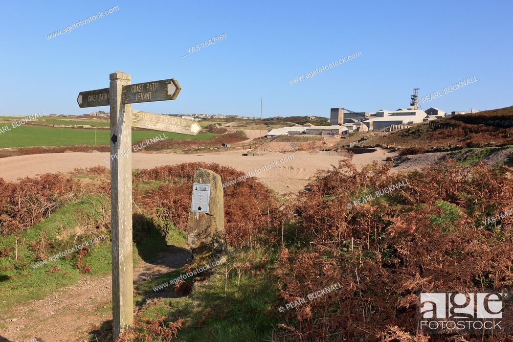 Stock Photo: Pendeen, Cornwall, England, UK, Britain, Europe  Coastal path signpost at junction with footpath to Geevor Tin Mine.
