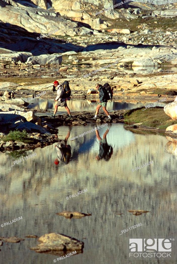 Stock Photo: People hiking.