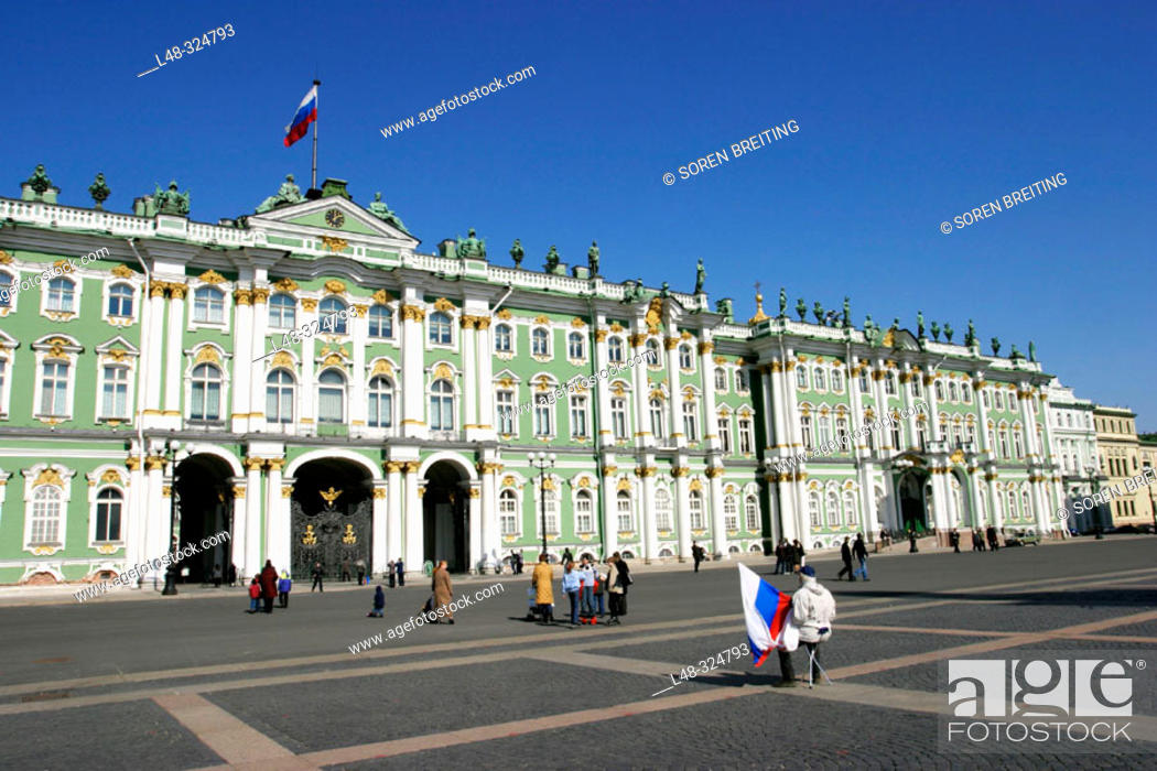 Stock Photo: Hermitage Museum, (Hermitage State Museum), St. Petersburg, or Saint-Petersburg, former Leningrad, Russia, at Dvortsovaya Ploshchad or Palace Square.