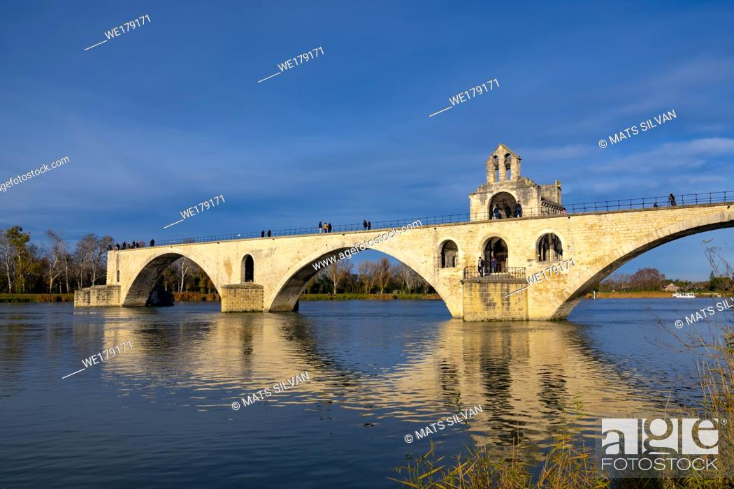 Stock Photo: Pont Sant Benezet over Rhone River with Sunlight and Blue Sky in Avignon, Provence-Alpes-Cote d'Azur in France.