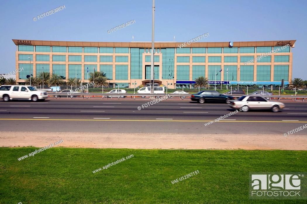 Stock Photo: dubai, sheikh, zayed, road, attriun, atrium, building.