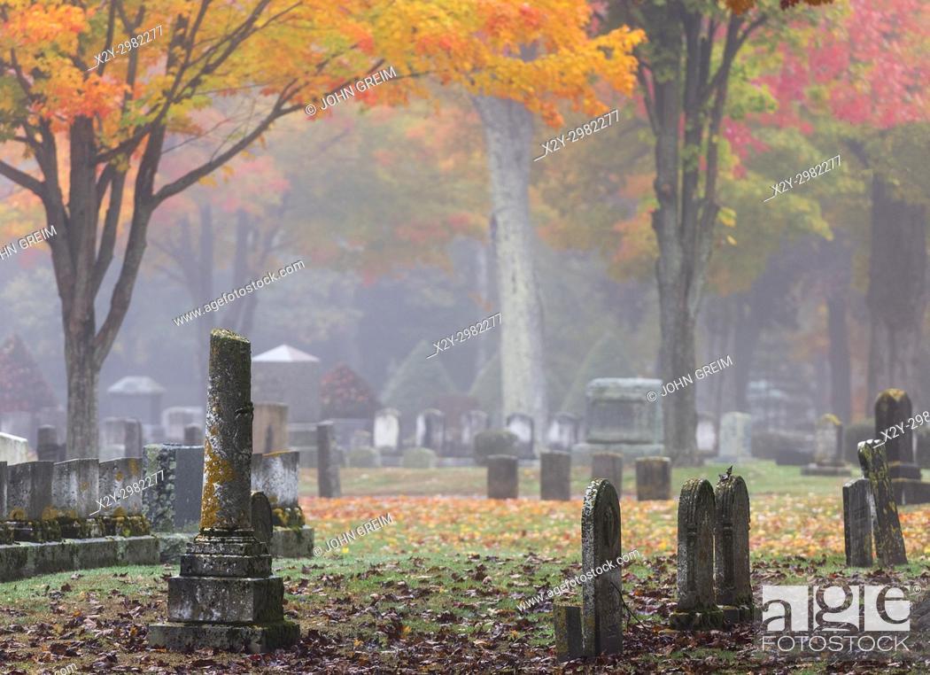 Stock Photo: Autumn cemetery, Saco, Maine, USA.