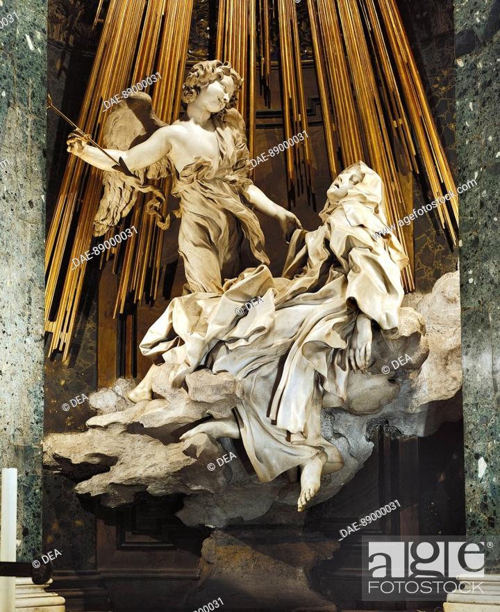 Stock Photo: The Ecstasy of St Teresa of Avila, 1647-1652, by Gian Lorenzo Bernini (1598-1680). Church of Santa Maria della Vittoria in Rome, Lazio.