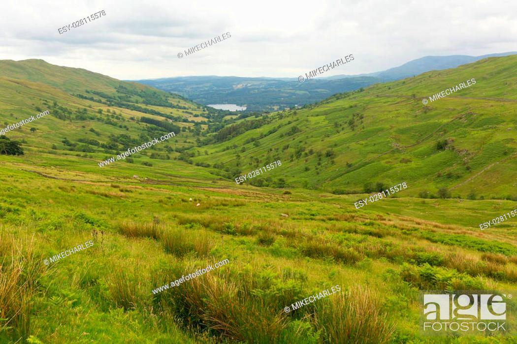 Stock Photo: Kirkstone Pass view towards Grasmere by Kirkstone Pass Inn Lake District England UK.