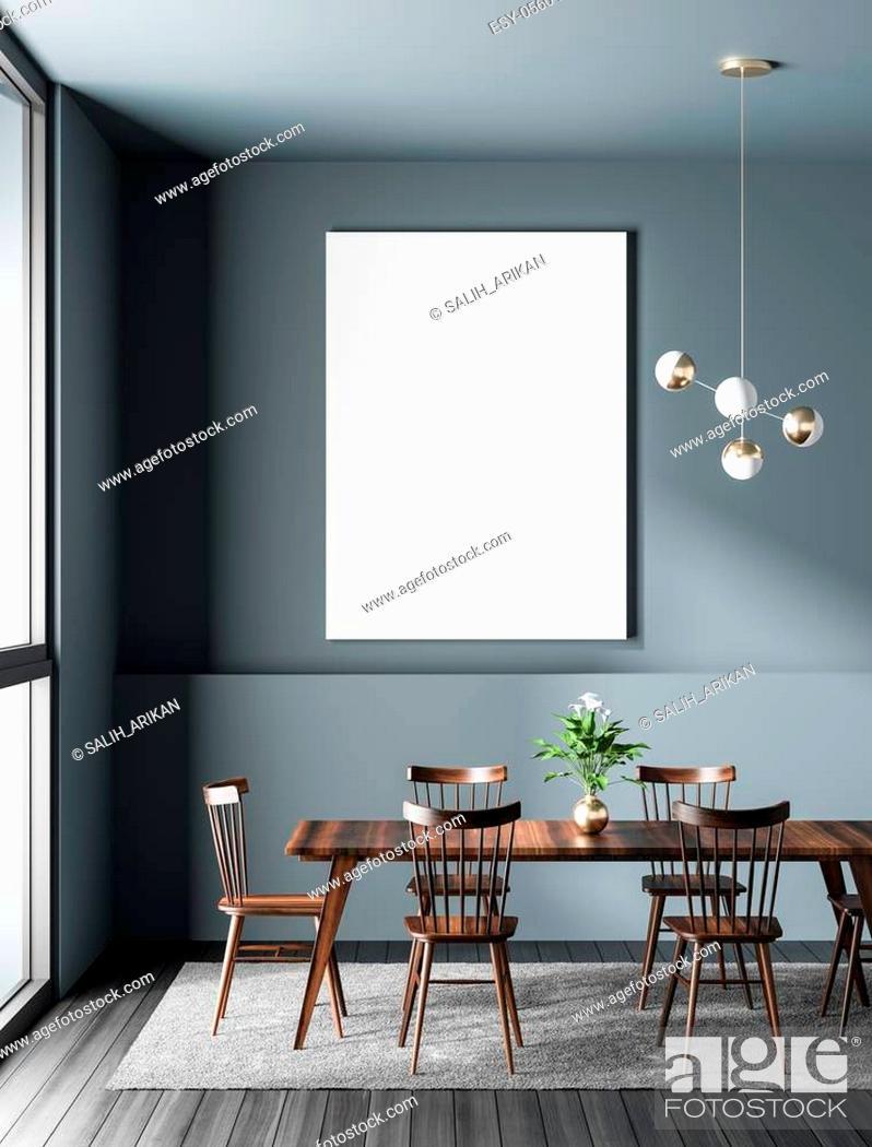 Stock Photo: Mock up poster frame in modern dining room. Scandinavian style dining room. 3D illustration.