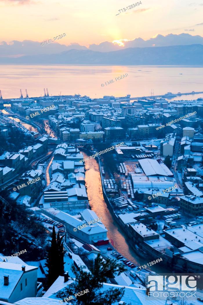 Stock Photo: Rijeka in Croatia, snow in December 2010, view from Trsat tower.