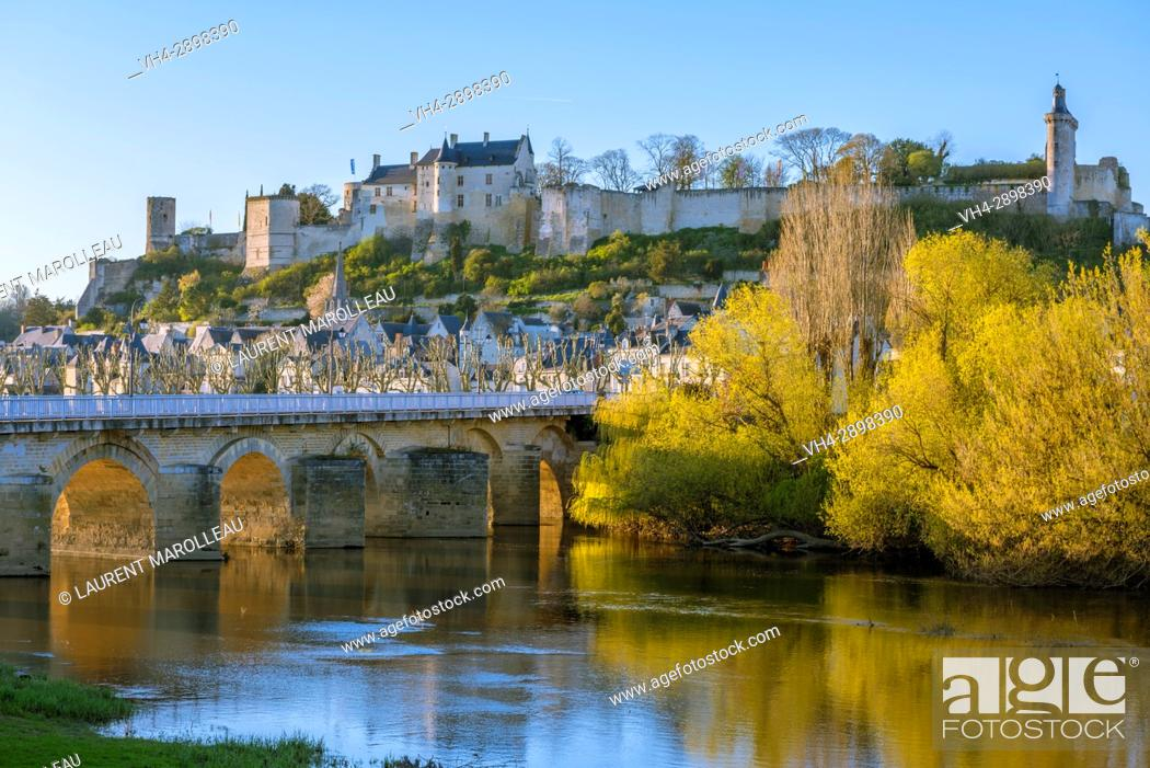 Stock Photo: The Eleanor of Aquitaine Bridge, the City and the Royal Fortress of Chinon. Indre-et-Loire Department, Centre-Val de Loire Region, Loire valley, France, Europe.