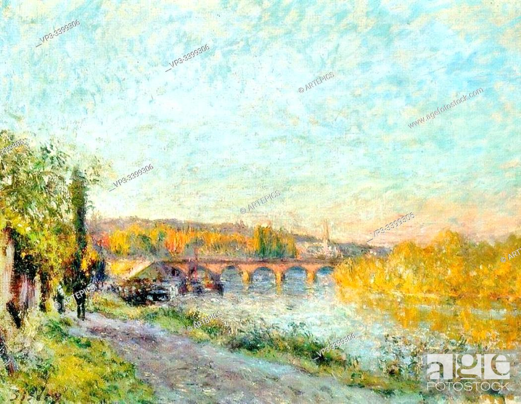 Stock Photo: ALFRED SISLEY (1839 - 1899) - LE PONT DE SVRES -1877.