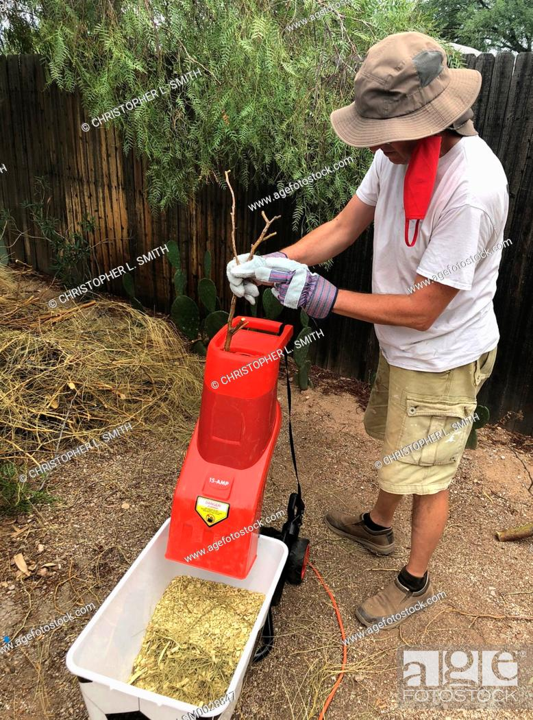Stock Photo: Adult male wearing thick protective gloves feeds garden sticks and small branches into an electric wood chipper.