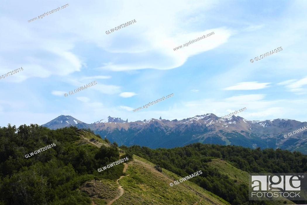 Stock Photo: Panoramic view of a mountain range, San Carlos De Bariloche, Argentina.