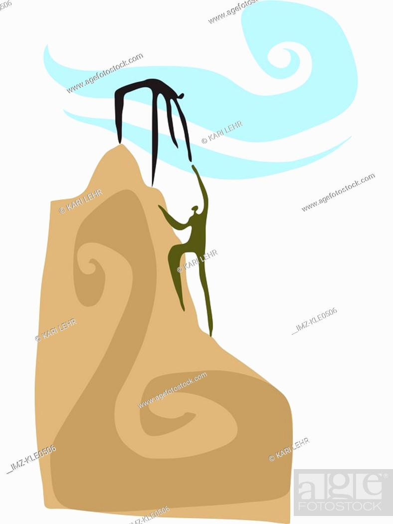Stock Photo: People reaching the top of a mountain peak.